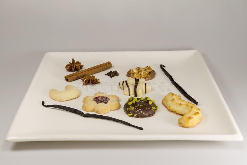 Wybór herbaciani składniki i ciastka obrazy royalty free