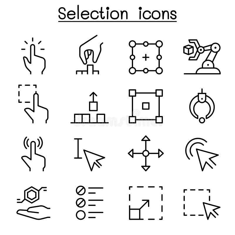 Wybór ikona ustawiająca w cienkim kreskowym stylu ilustracji