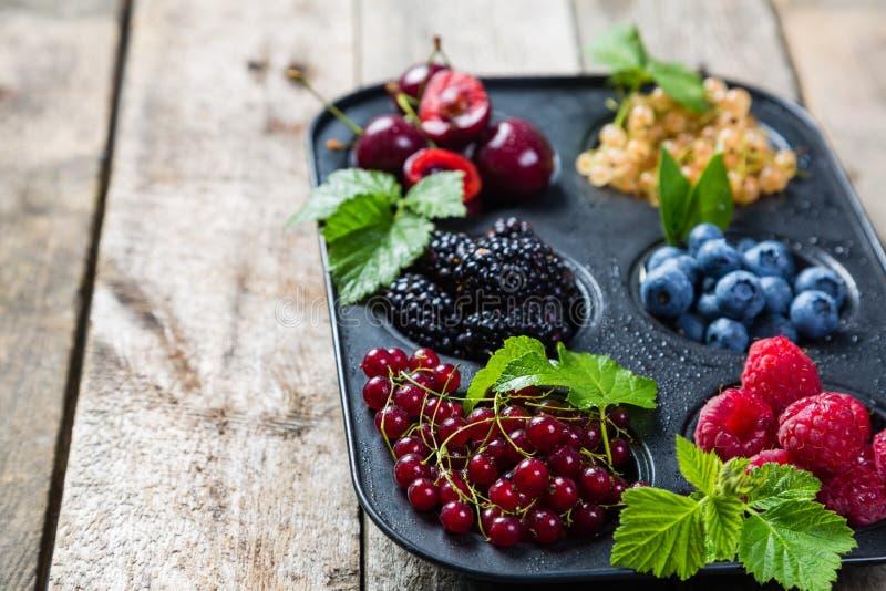 Wybór jagody w babeczki formie - zdrowy deserowy pojęcie zdjęcie stock
