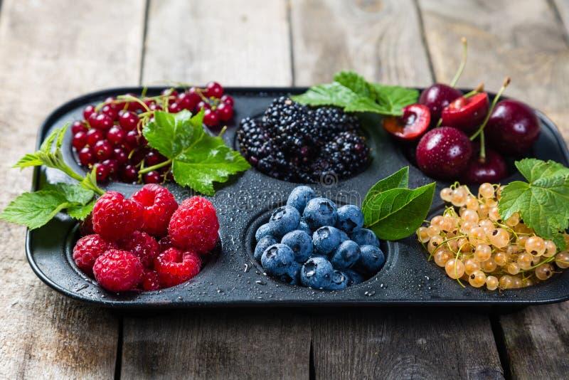 Wybór jagody w babeczki formie - zdrowy deserowy pojęcie fotografia stock