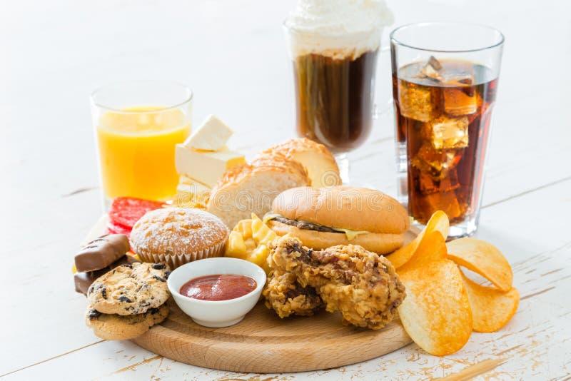 Wybór jedzenie który jest zły dla twój zdrowie obrazy royalty free