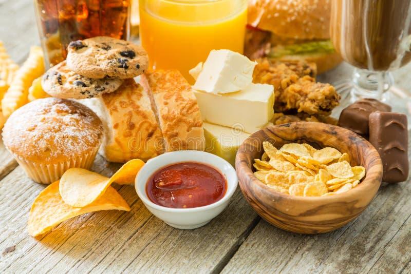 Wybór jedzenie który jest zły dla twój zdrowie fotografia royalty free