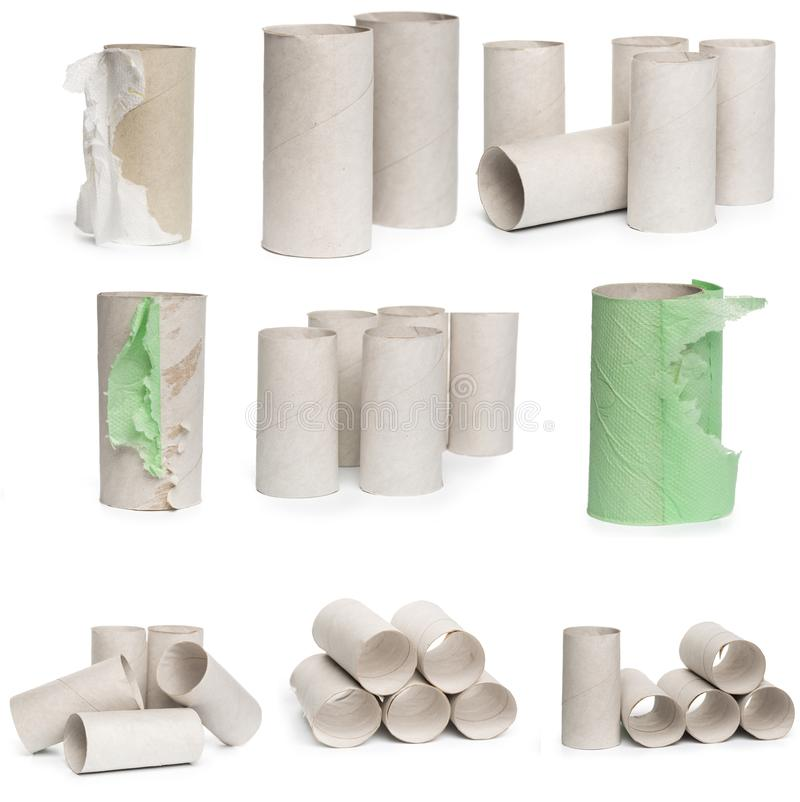 Wybór kartonowy papier toaletowy ruruje w różnorodnych przygotowaniach odizolowywających na białym tle fotografia stock