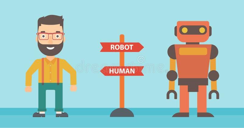 Wybór między sztuczną inteligencją i istotą ludzką ilustracja wektor