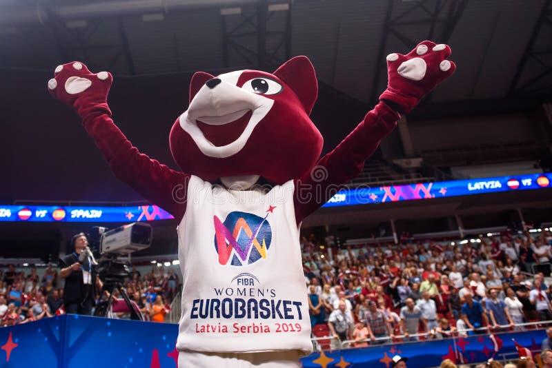 Wybór - oficjalna maskotka FIBA kobiet Eurobasket w Ryskim obraz stock