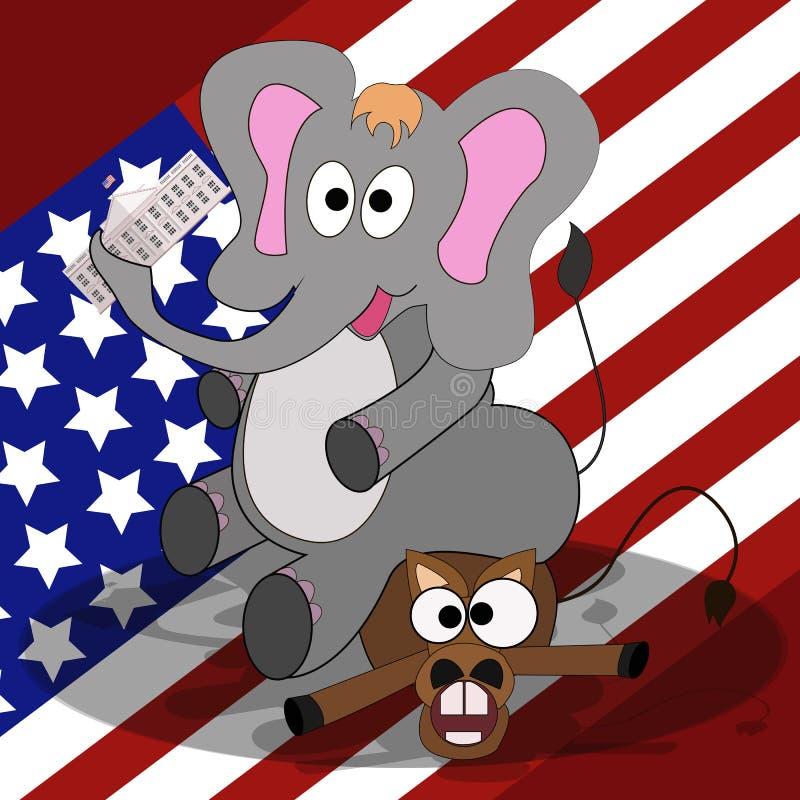 Wybór prezydenci w Stany Zjednoczone Wygrywać partii republikańskiej Flaga amerykańskiej tło royalty ilustracja