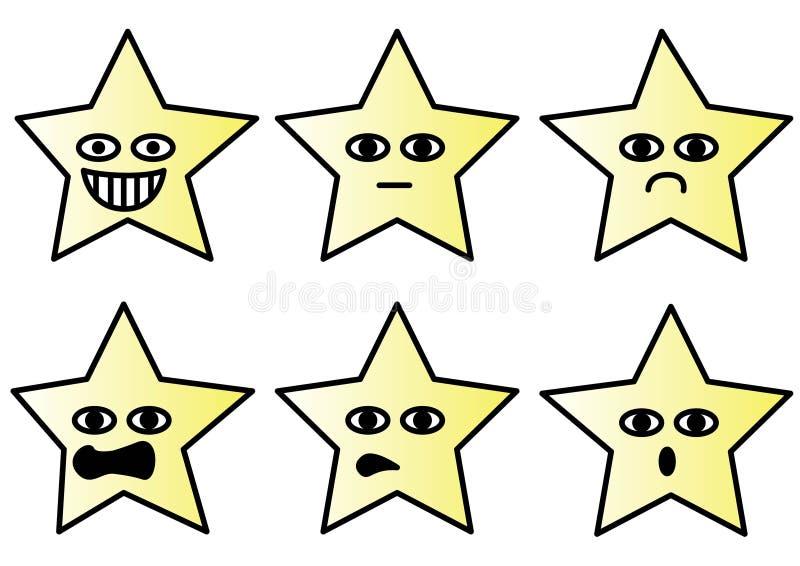 Wybór różne gwiazdy z śmieszną twarz wektoru ilustracją ilustracja wektor