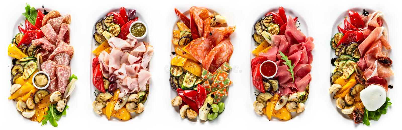 Wybór różni rodzaje mięso i kiełbasa zdjęcia stock