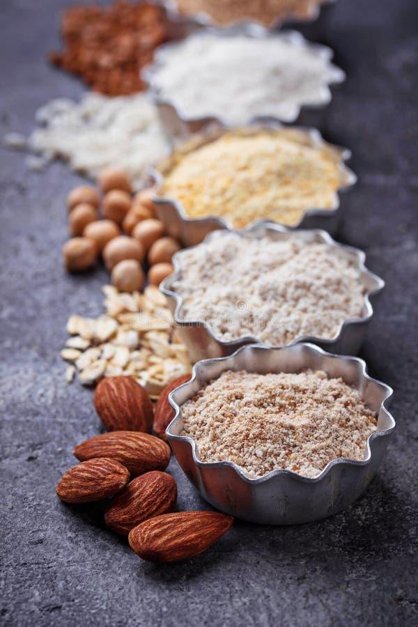 Wybór różnorodny gluten uwalnia mąkę zdjęcie stock