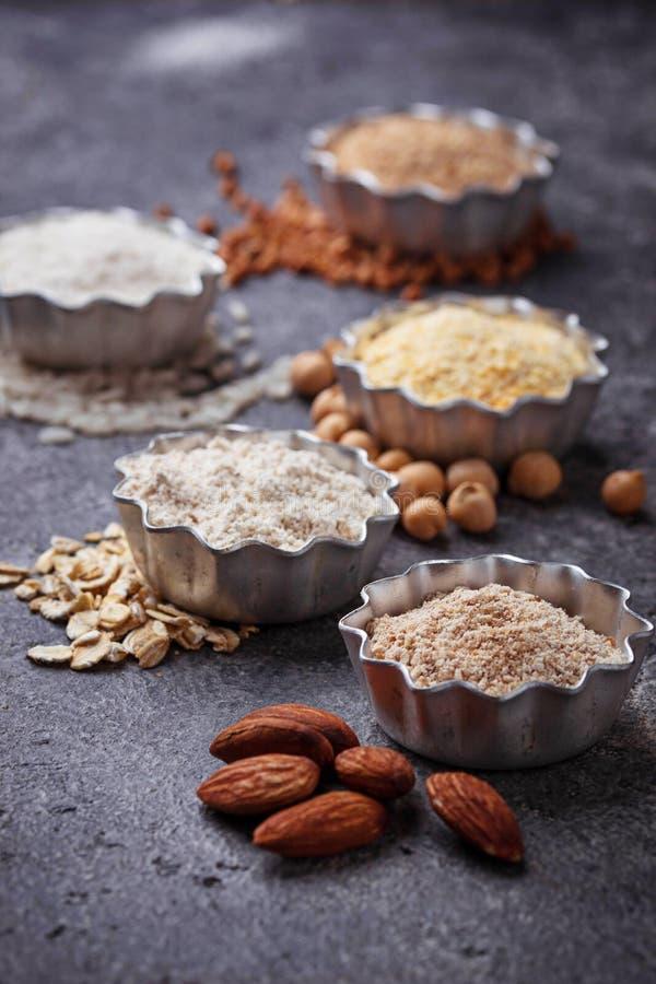 Wybór różnorodny gluten uwalnia mąkę obrazy stock