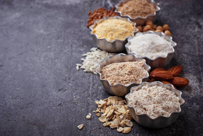 Wybór różnorodny gluten uwalnia mąkę zdjęcia stock