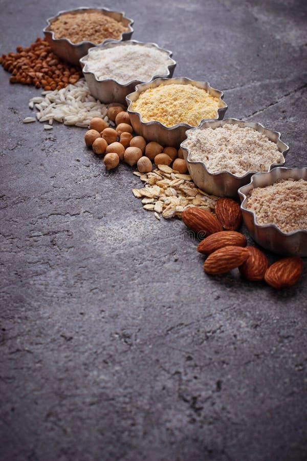 Wybór różnorodny gluten uwalnia mąkę zdjęcie royalty free