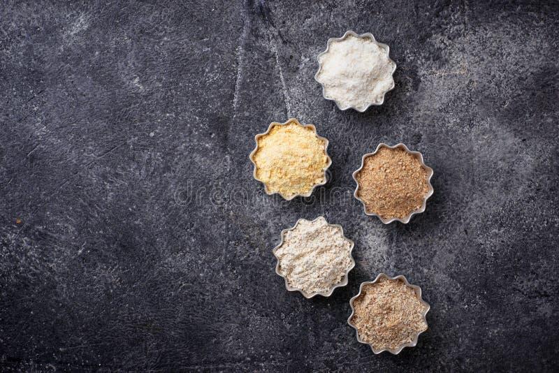 Wybór różnorodny gluten uwalnia mąkę zdjęcia royalty free