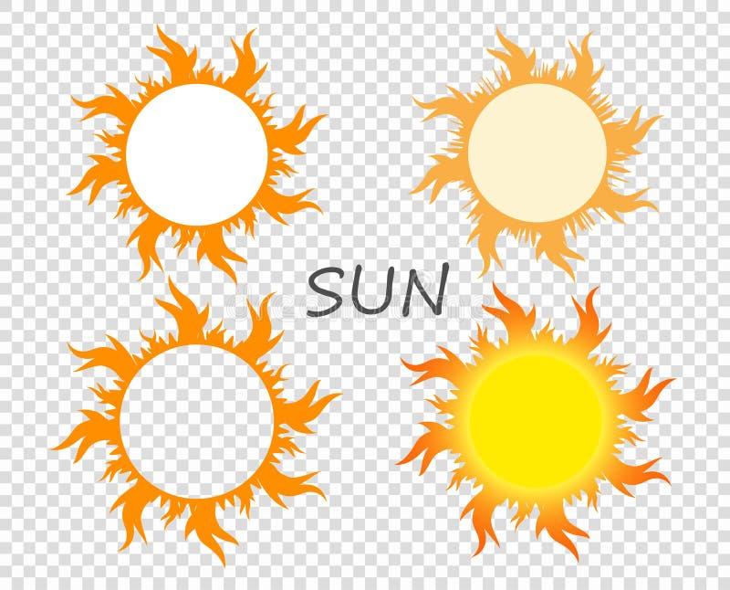 Wybór słońca z jęzorami płomień Wektorowi projektów elementy na odosobnionym przejrzystym tle royalty ilustracja