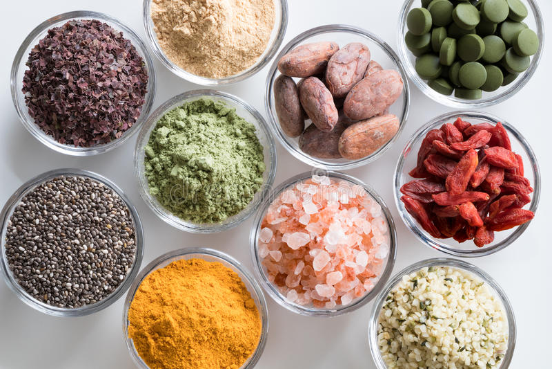 Wybór superfoods na białym tle fotografia royalty free