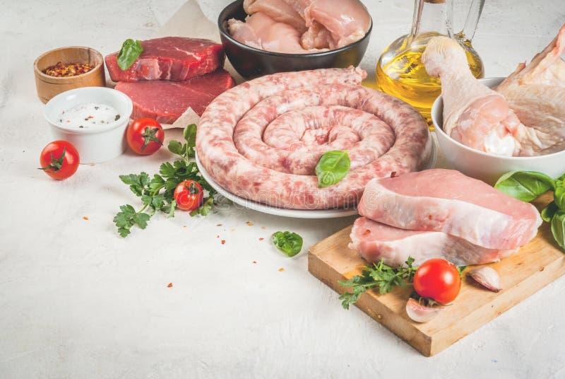 Wybór surowy mięso obraz stock