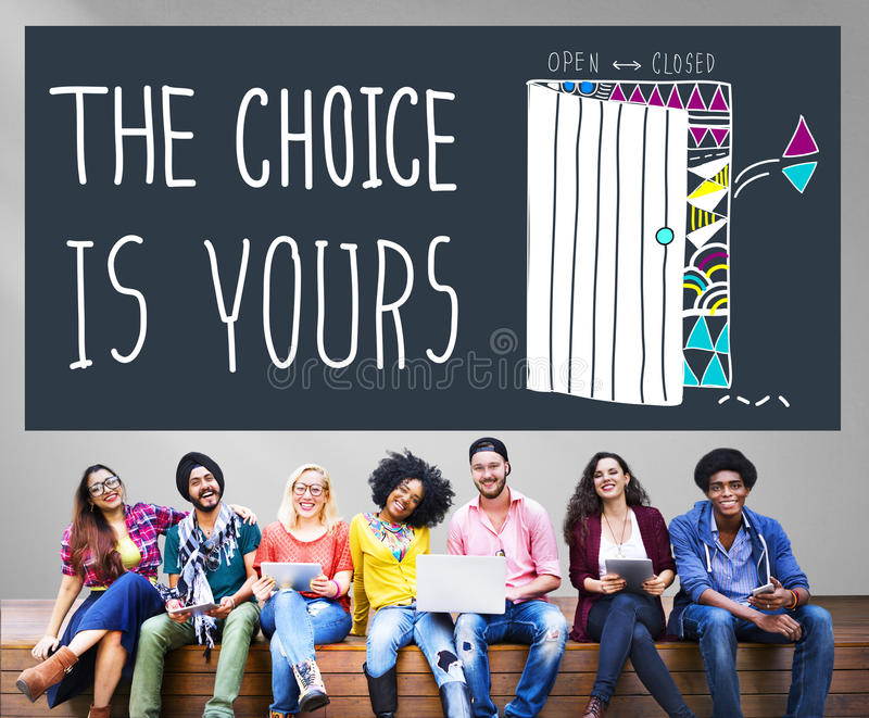 Wybór Wasze Przygodny Wybiera decyzja wyboru pojęcie zdjęcie royalty free