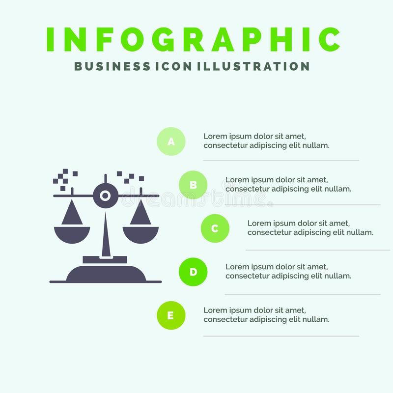 Wybór, wniosek, sąd, osądzenie, prawo ikony Infographics 5 kroków prezentacji Stały tło ilustracji