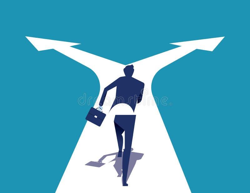 wyb?r Biznesmena bieg na rozdrożach Poj?cie biznesowa wektorowa ilustracja ilustracji