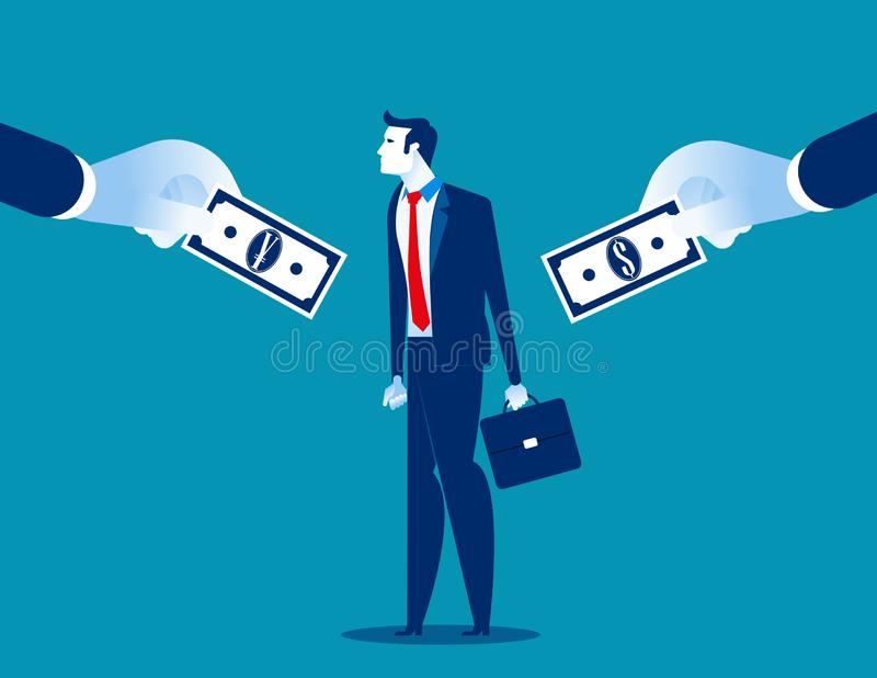 wyb?r Biznesmena wybór między walutami Pojęcie biznesowa wektorowa ilustracja, waluta, mieszkanie styl, postać z kreskówki ilustracja wektor