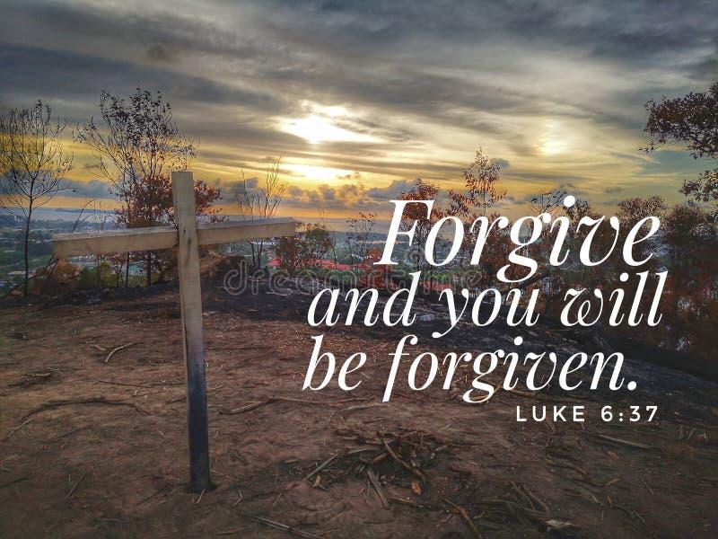 Wybacza od biblia wierszowego projekta dla chrystianizmu obrazy stock
