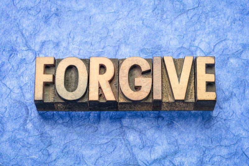 Wybacza słowo w drewnianym typie obrazy royalty free