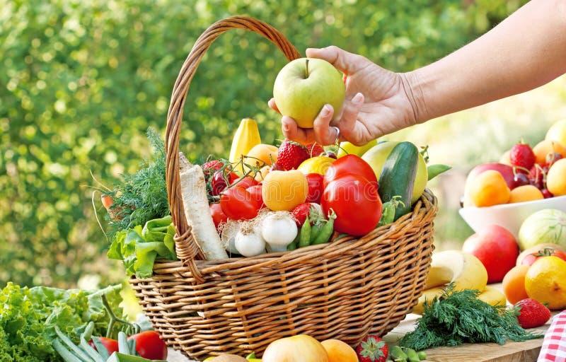Wybiera prawych świeżych i organicznie owoc i warzywo obrazy royalty free