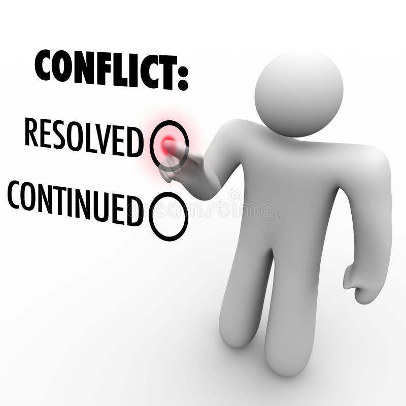 Wybiera Rozwiązywać konflikty lub Kontynuować - konfliktu postanowienie royalty ilustracja