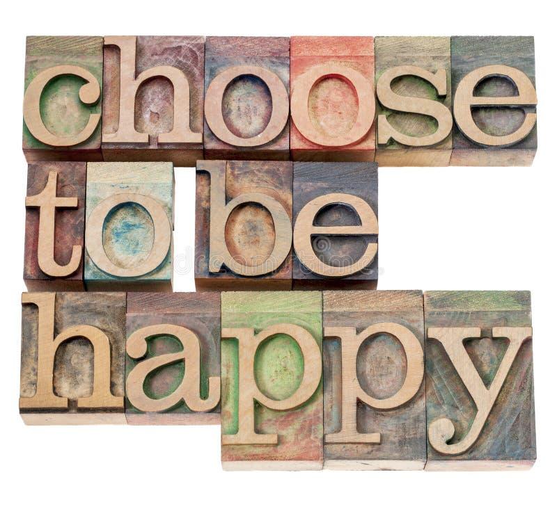 Wybiera szczęśliwy być - positivity obraz stock