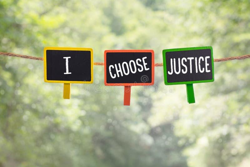 Wybieram sprawiedliwość na pokładzie obraz stock