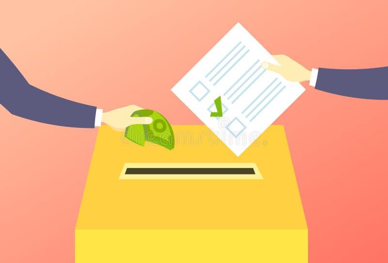 Wyborca stawia papierowego tajnego głosowania listę w pudełkowatej sprzedawania głosowania ręce daje pieniądze podczas głosować w royalty ilustracja