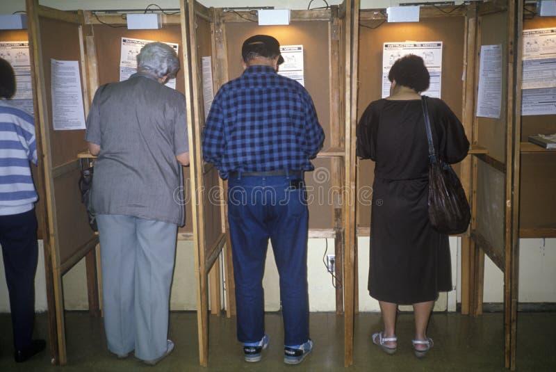Wyborcy i kabina do głosowania fotografia stock