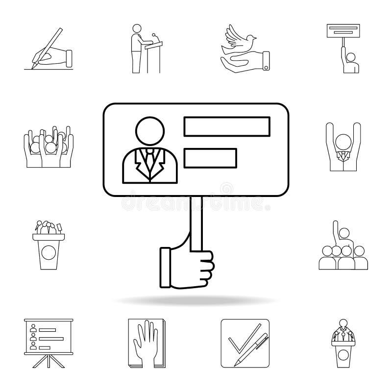 wyborcy, s plakata ikona « Szczegółowy konturu set wybory elementu ikony Premia graficzny projekt Jeden inkasowe ikony dla ilustracji