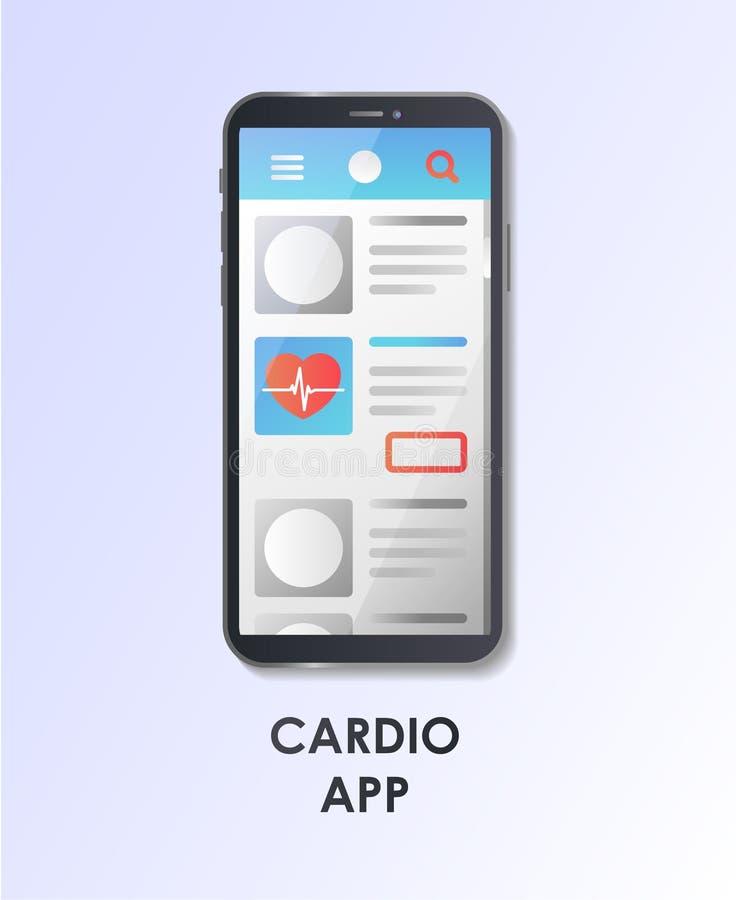 Wyborowy cardio mobilny app tło zamazywał opieki pojęcia twarzy zdrowie maski pigułkę ochronną Pojęcie dla strony internetowej, e ilustracji