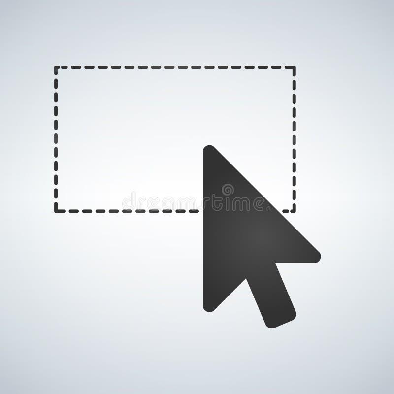 Wyboru narzędzie z mysz kursorem, ciskająca linia Wektorowa ilustracja odizolowywająca na nowożytnym tle ilustracji