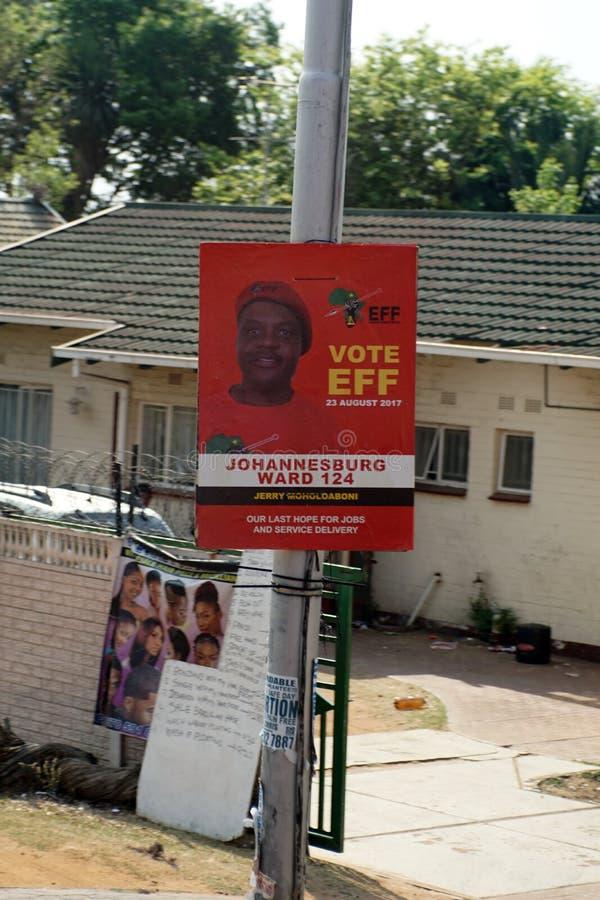 Wybory flier na oszczędnościowym słupie w Johannesburg zdjęcie stock