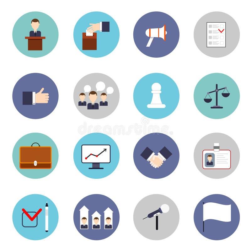 Wybory ikon mieszkania set ilustracja wektor