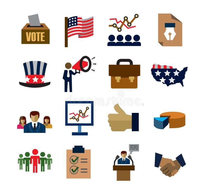 Wybory ikony ilustracja wektor