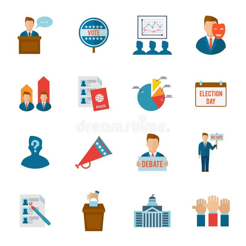 Wybory ikony mieszkanie ilustracji