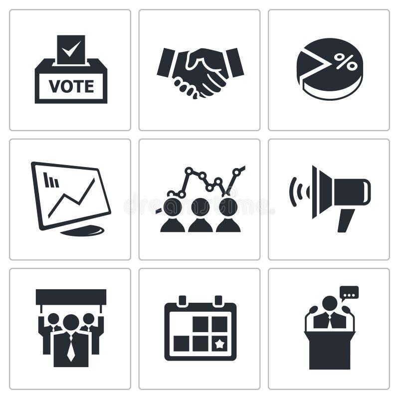 Download Wybory ikony ustawiać ilustracja wektor. Ilustracja złożonej z parlament - 42525581
