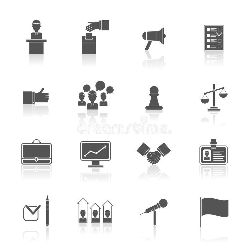 Wybory ikony ustawiają czerń ilustracji