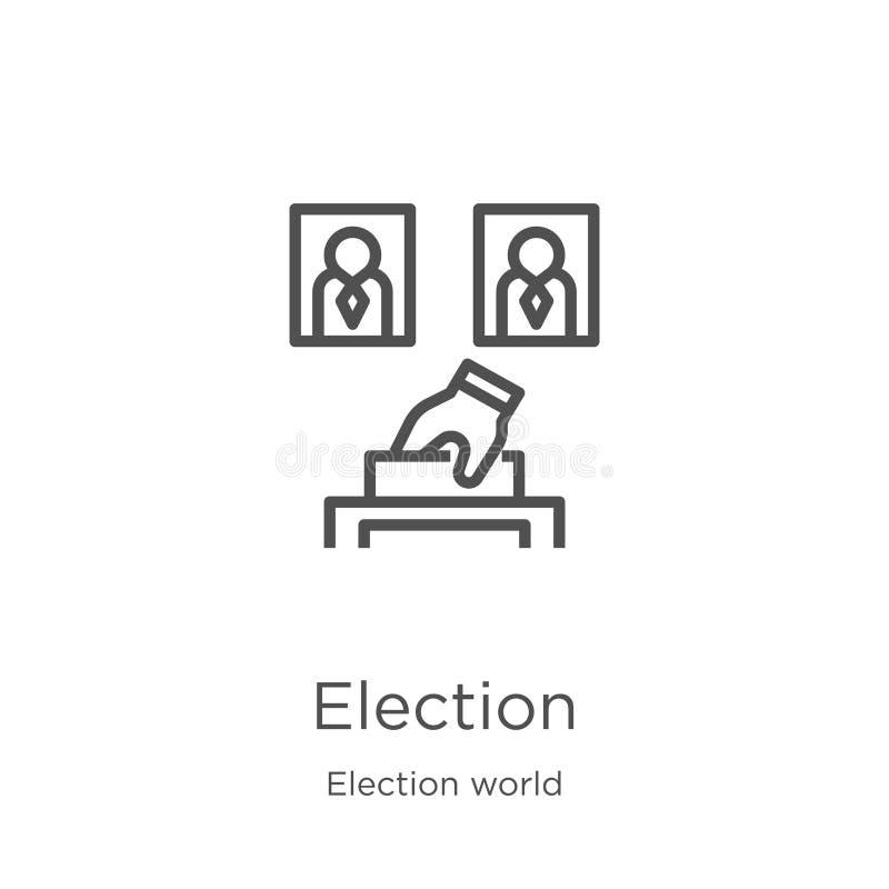 wybory ikony wektor od wybory światu kolekcji Cienka kreskowa wybory konturu ikony wektoru ilustracja Kontur, cienieje linię ilustracji