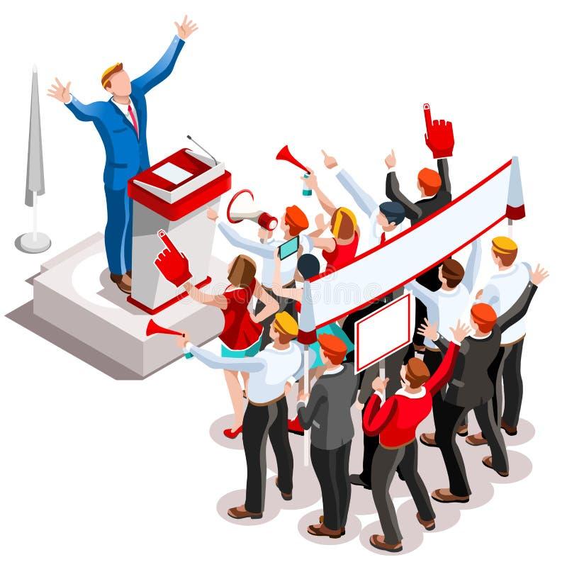 Wybory Infographic Głośnikowego podium Wektorowi Isometric ludzie ilustracji