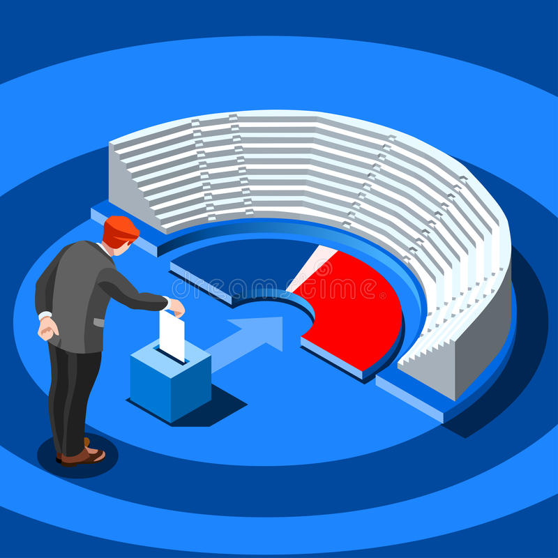 Wybory Infographic głosowania parlamentarnego Wektorowi Isometric ludzie ilustracja wektor