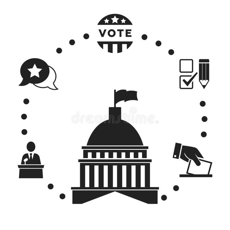 Wybory Infographic, ikona set ilustracja wektor