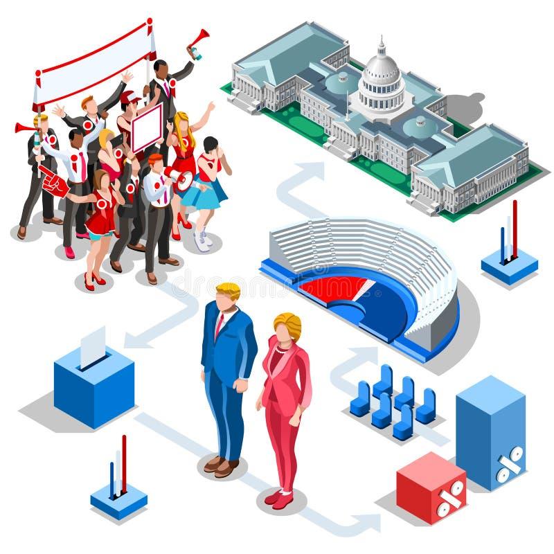 Wybory Infographic My polityka Wektorowi Isometric ludzie royalty ilustracja