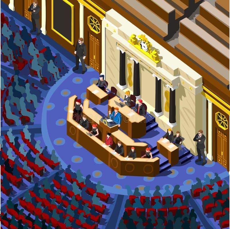 Wybory Infographic parlamentu Hall Wektorowi Isometric ludzie ilustracja wektor