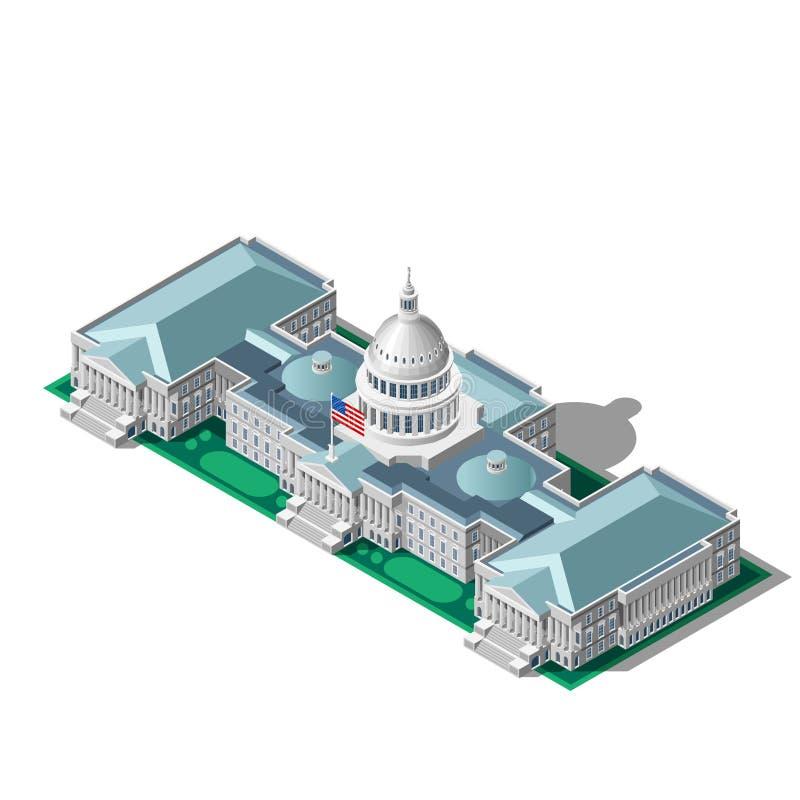 Wybory Infographic parlamentu Wektorowy Isometric budynek royalty ilustracja