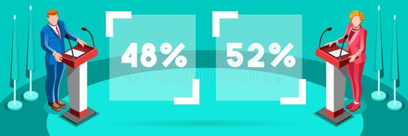 Wybory Infographic podium kandydata Wektorowi Isometric ludzie royalty ilustracja
