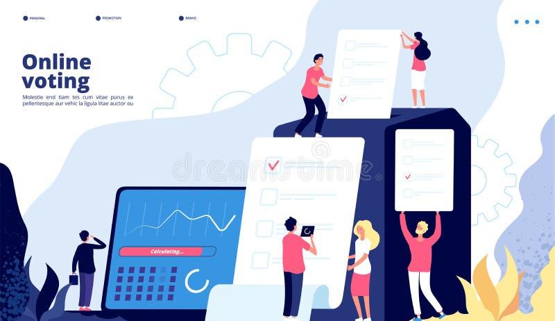 Wybory lądowanie Online głosujący ludzie głosują z rządowym elektronicznym systemem, interneta prezydent wybory przeglądają ilustracji
